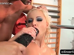 Blonde hooker takes huge...